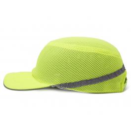 Каска-бейсболка ударопрочная со светоотражающей лентой (цвет салатовый)