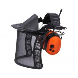 Щиток защитный для триммера и лесоруба сетка с FM радионаушниками 28 dB