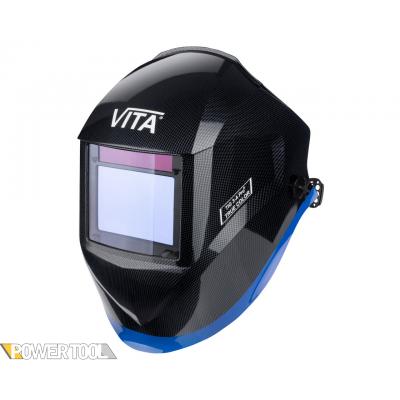 Сварочная маска TIG 3-A Pro TrueColor металлические соты черные с синей полосой